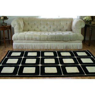 Top Reviews Casual Contemporary Blocks HandTufted Wool Ivory/Black Area Rug ByAmerican Home Rug Co.