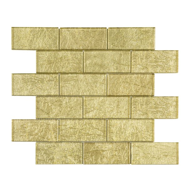 Galaxy 2 x 4 Glass Mosaic Tile in Gold by Multile