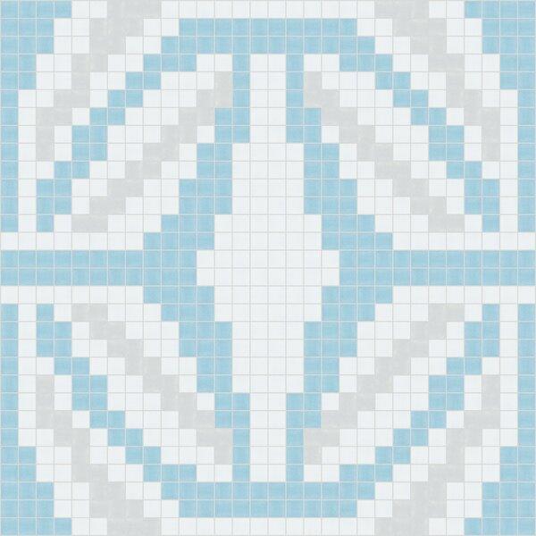 Urban Essentials Gothic Ornament 3/4 x 3/4 Glass Glossy Mosaic in Breeze Blue by Mosaic Loft