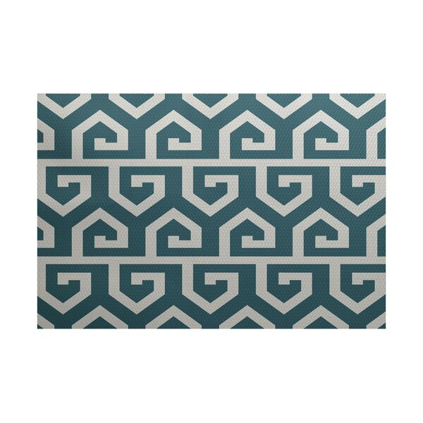 Whit Geometric Print Teal Indoor/Outdoor Area Rug by Ivy Bronx