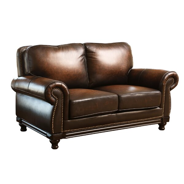 Reynolds Leather Loveseat by Breakwater Bay