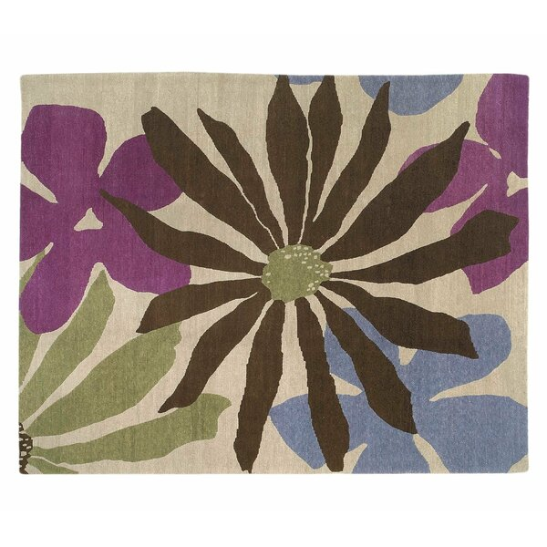 Floral Hand-Knotted Wool Beige Area Rug