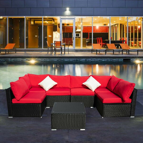 Breccan Patio Furniture on Clearance 7 Piece Rattan Sectional Seating Group with Cushions by Longshore Tides