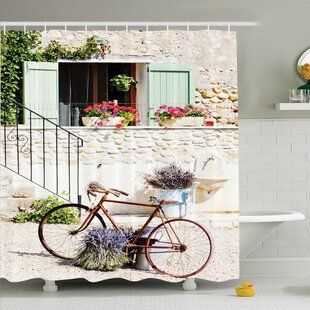 Affordable Rustic Bike Flower Countryside Shower Curtain Set By Ambesonne