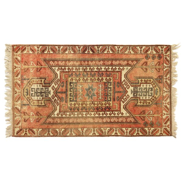 One-of-a-Kind Hand-Woven Wool Red/Ivory Area Rug by Exquisite Rugs