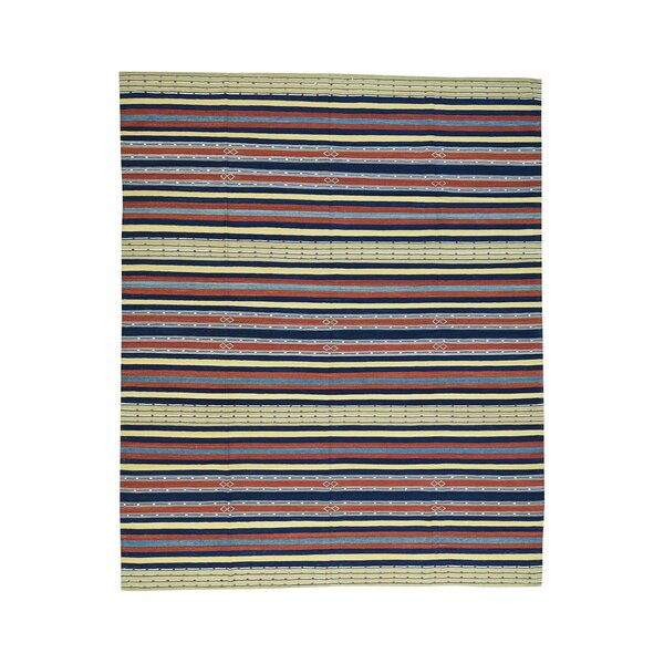 One-of-a-Kind Alpsville Qashqai Kilim Striped Flat Weave Oriental Hand-Knotted Red/Blue Area Rug by World Menagerie