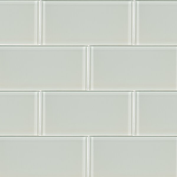 Arctic Ice 3 x 6 Glass Wall Tile in White by MSI
