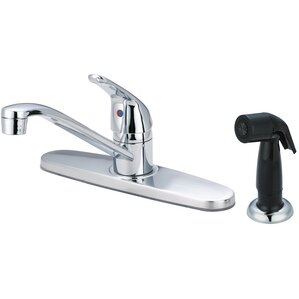 Olympia Faucets Single Handle Deck Mounted Centerset Standard Kitchen Faucet with Side Spray