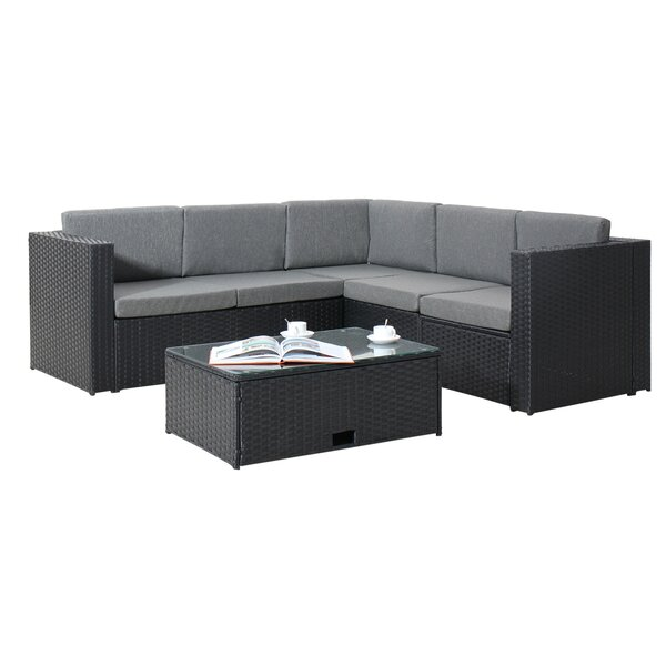 Cotswald 4 Piece Rattan Sectional Seating Group with Cushions by Sol 72 Outdoor