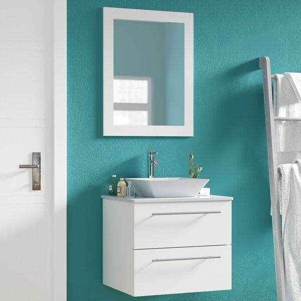 Marius 24 Single Sink Wall Mounted Bathroom Vanity Set with Mirror by Mercury Row