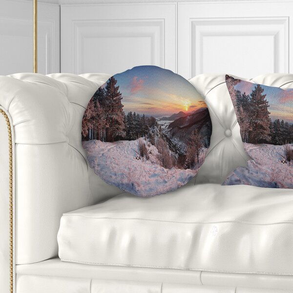 Landscape Slovakia Panorama at Winter Throw Pillow by East Urban Home