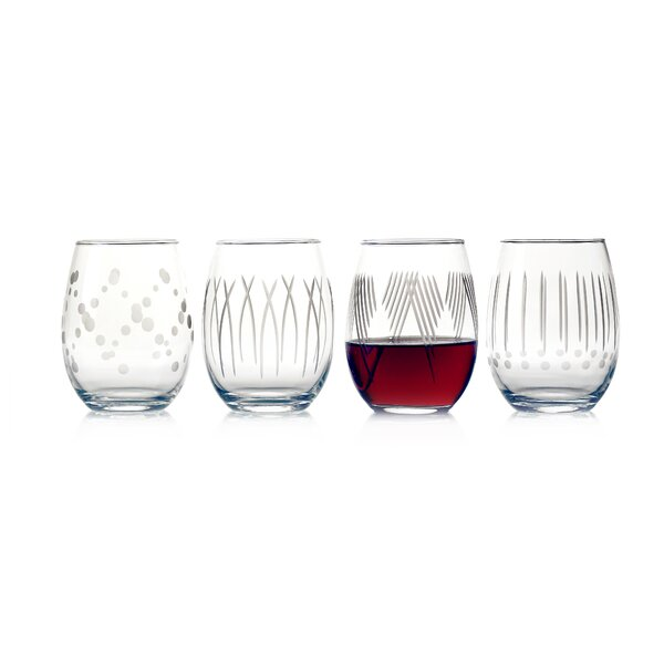Dimauro 4-Piece 17 oz. Glass Every Day Glasses Set (Set of 4) by Ebern Designs