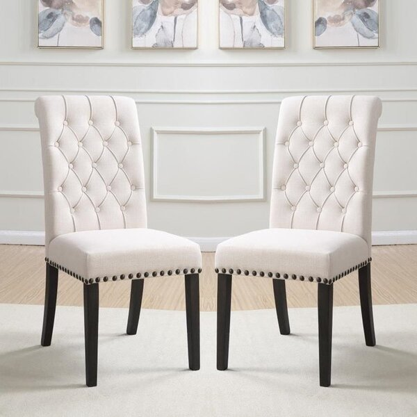 Rangeworthy Tufted Linen Solid Wood Side Chair in Beige (Set of 2) by Canora Grey Canora Grey