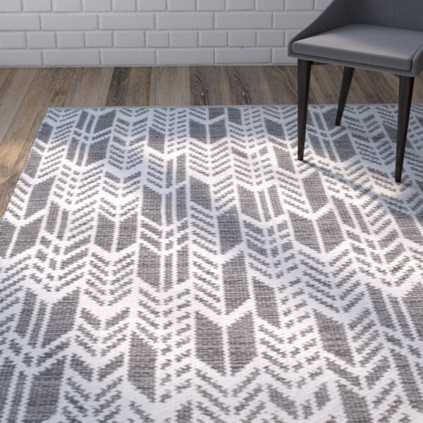 Paz Hand-Woven Charcoal/Ivory Area Rug by Wrought Studio