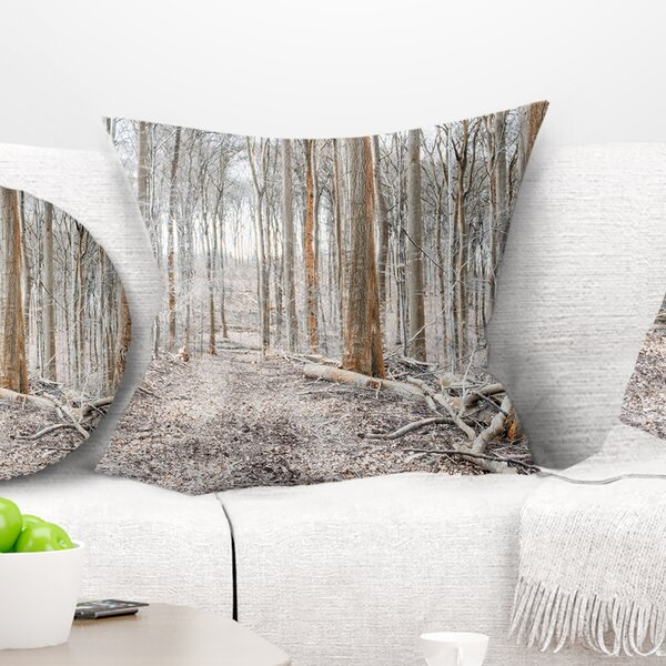 Forest Dense in the Winter Photography Pillow by East Urban Home