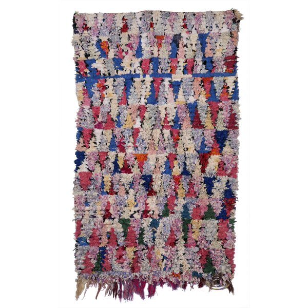 Boucherouite Azilal Hand-Woven Pink/Blue Area Rug by Casablanca Market