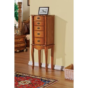 James 4 Drawer Jewelry Armoire with Mirror by CTE Trading