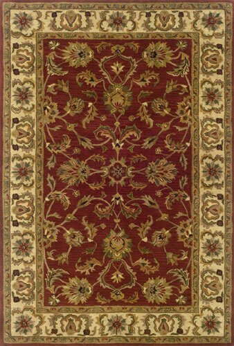 Vinoy Hand-made Red/Ivory Area Rug by Astoria Grand