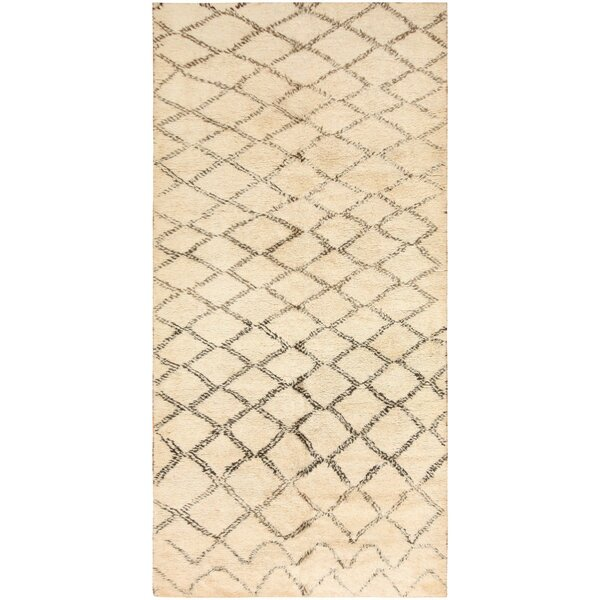 One-of-a-Kind Moroccan Hand-Knotted 1900s Cream 6'2 x 12'3 Wool Area Rug