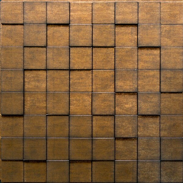 Wattsburg Cubes 24 L x 24 W Brick Tile in Dark Okasha/Wood Walnut by Alcott Hill