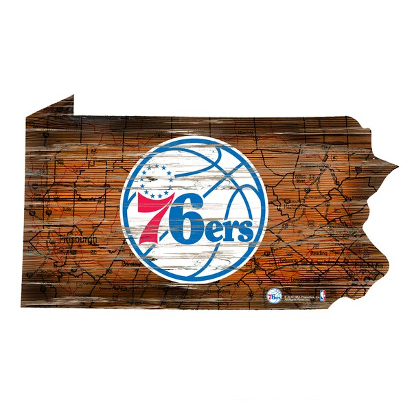 NBA 76ers Distressed State Wall Décor by Fan Creations