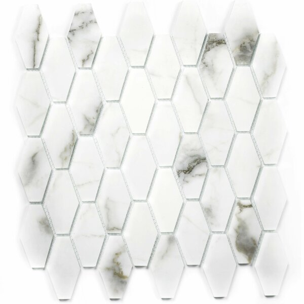 Musico Hexagon 2 x 2 Glass Mosaic Tile in White/Gray by Abolos