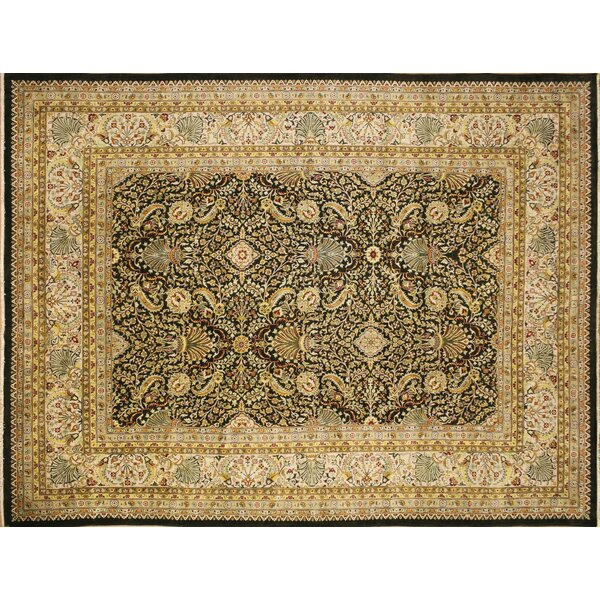 Ankara Sutton Hand Knotted Wool Dark Green Area Rug by World Menagerie