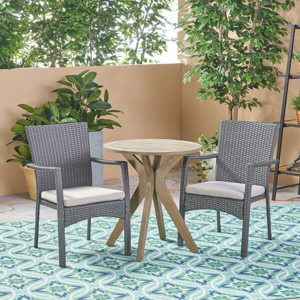 Rockhampton Outdoor 3 Piece Bistro Set with Cushions by Bungalow Rose