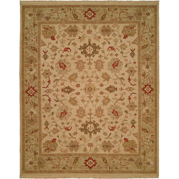 Hand-Knotted Beige/Green Area Rug by Meridian Rugmakers