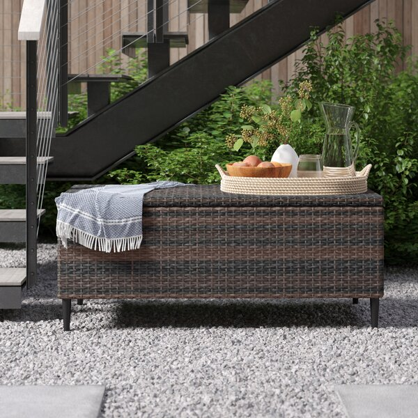Camden Outdoor Wicker Deck Box by Foundstone Foundstone