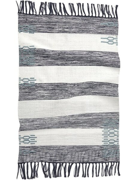 Ano Nuevo Hand-Woven Midnight/Mid Dusty Aqua Area Rug by Coyuchi