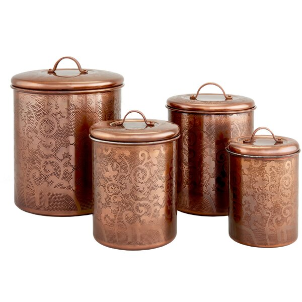 Avignon 4 Piece Etched Kitchen Canister Set by Old Dutch International
