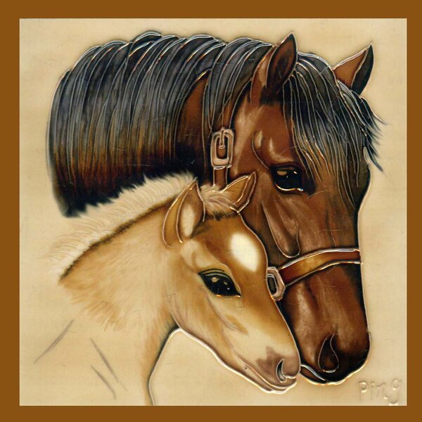 2 Horses Tile Wall Decor by Continental Art Center