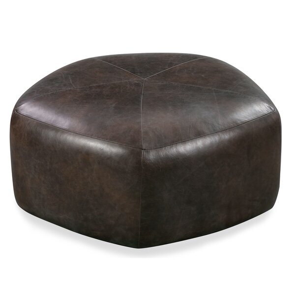 Rowley Leather Pouf by 17 Stories