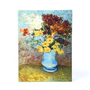 ''Flowers in Blue Vase'' by Vincent Van Gogh Painting Print on Canvas by ArtWall