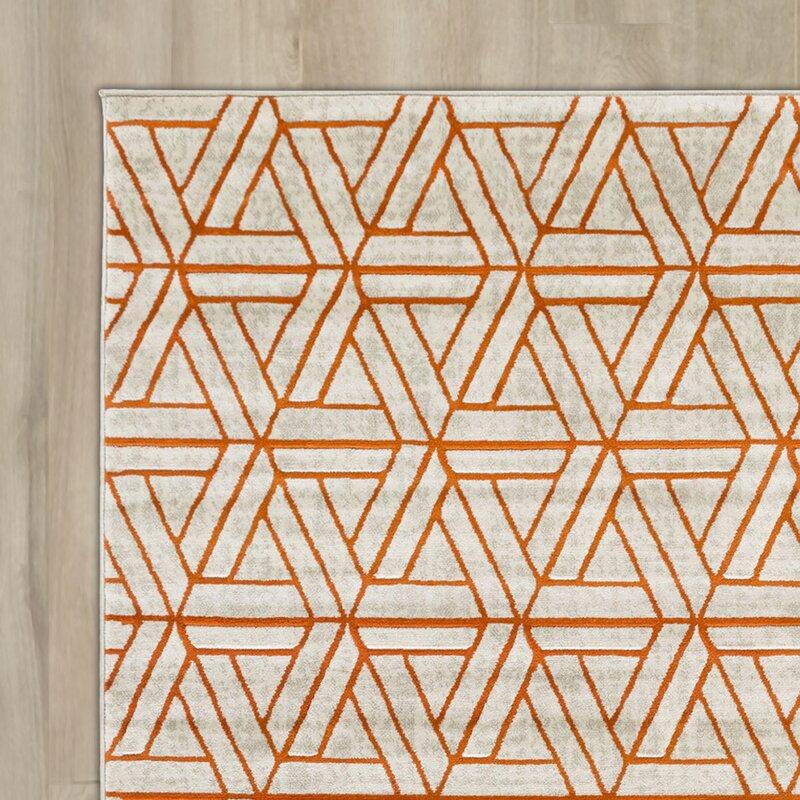 Ginsberg Light Gray Burnt Orange Area Rug