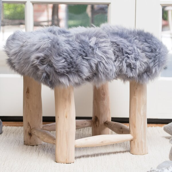 Patmos Sheep Hide Square Vanity Stool by Bungalow Rose