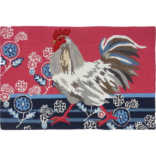 Valois Patriotic Rooster Dark Blue/Red Area Rug by August Grove