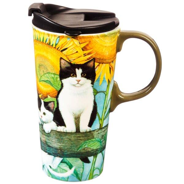 Adreanna Sunflower Kittens Travel Mug by August Grove