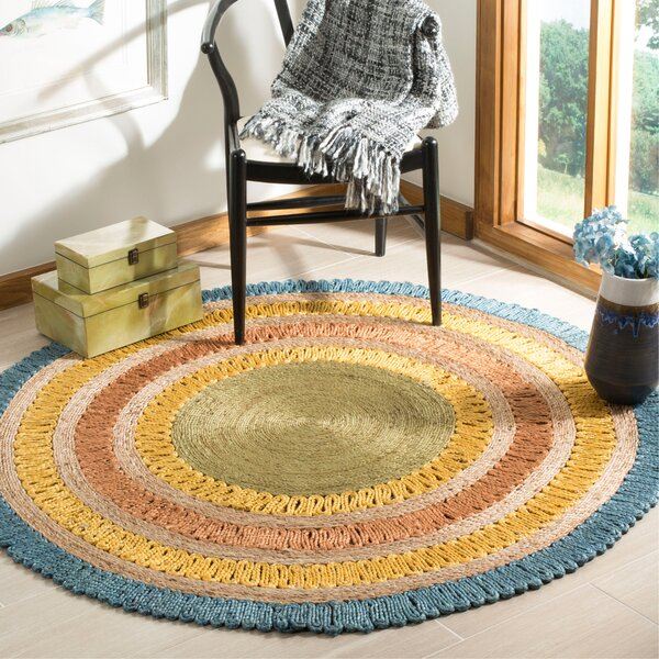 Veilleux Natural Fiber Hand Tufted Blue/Beige Area Rug  by August Grove