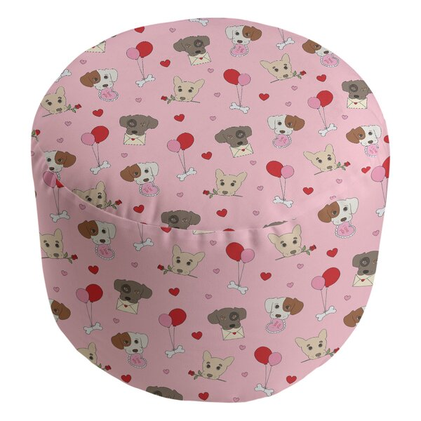 Festive Hol Valentine's Day Dogs Pouf By East Urban Home