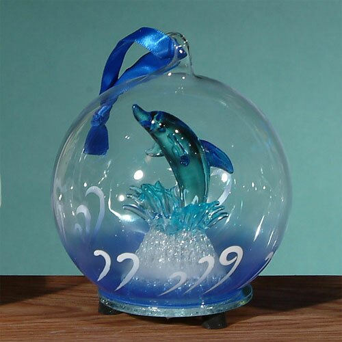 Light Up Glass Dolphin Jumping Ornament by Unison Gifts