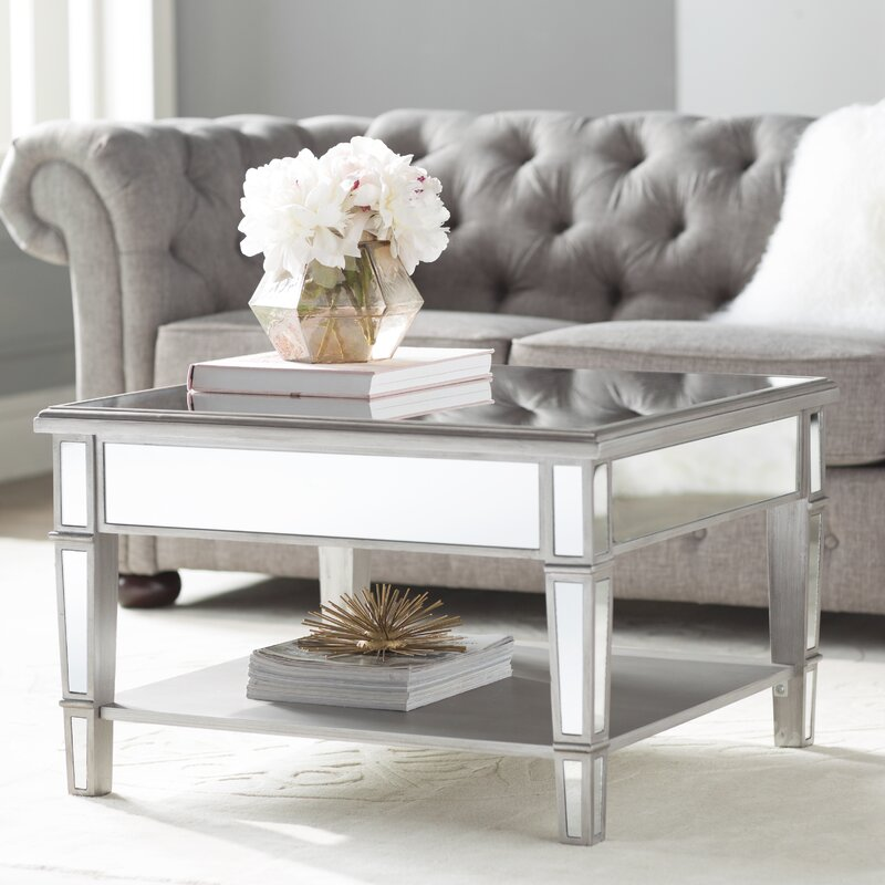 Willa arlo interiors loganne mirrored square coffee table for Wayfair mirrored coffee table