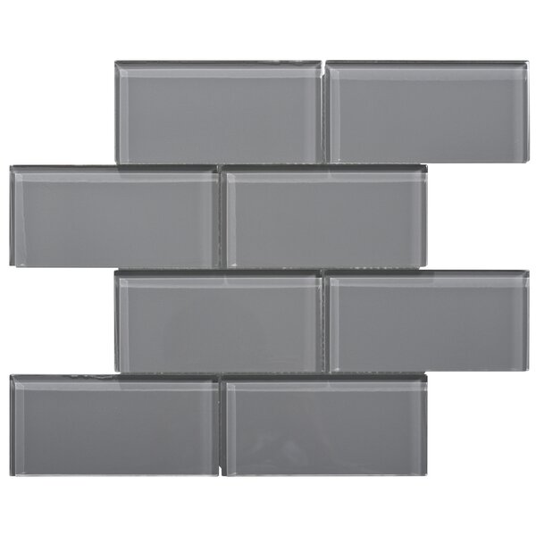 Premium Series 3 x 6 Glass Subway Tile in Dark Gray by WS Tiles
