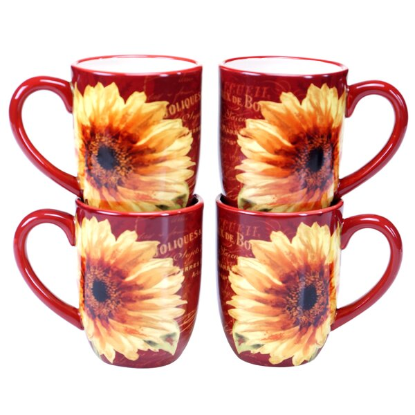 Paris Sunflower 18 oz. Mug (Set of 4) by Certified
