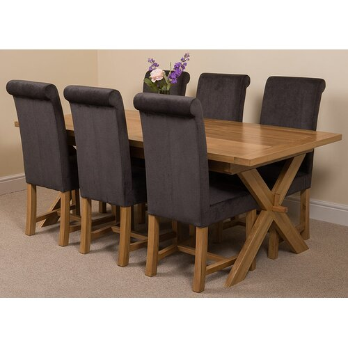 Baldev Kitchen Solid Oak Extendable Dining Set with 6 Chairs Rosalind Wheeler