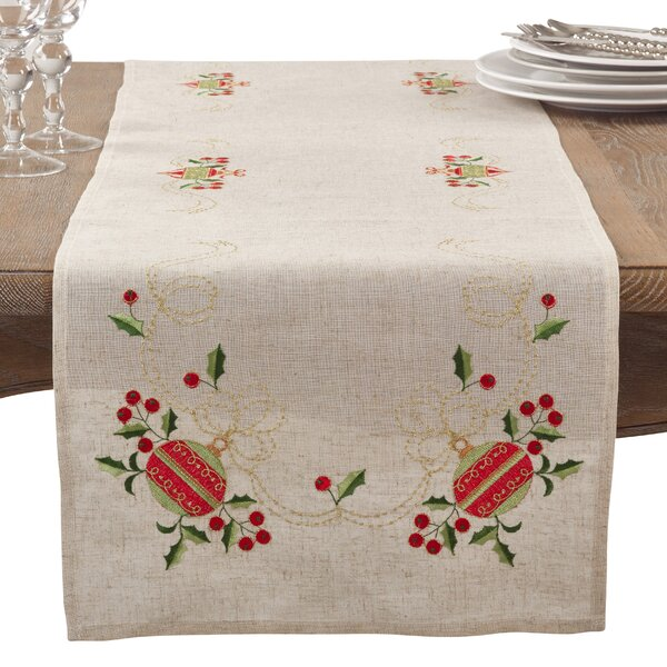 Rectangular Embroidered Ornament Holiday Linen Blend Table Runner by The Holiday Aisle