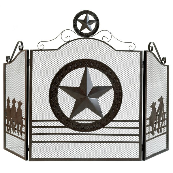Western 3 Panel Metal Fireplace Screen by Zingz & Thingz