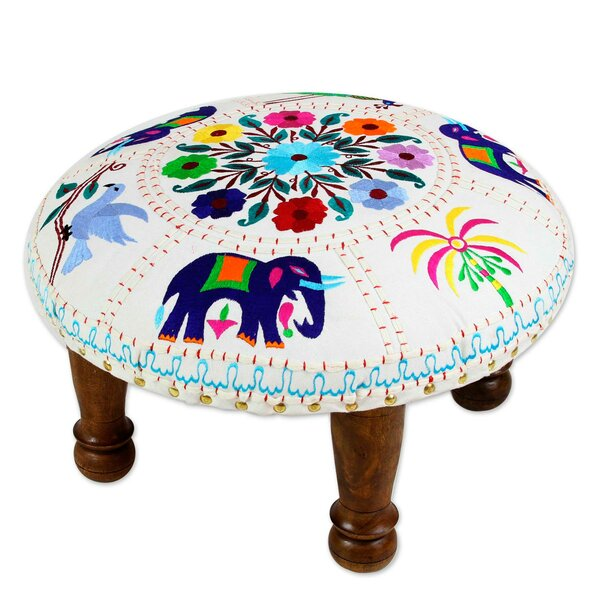 Rothley Elephant Garden Cotton Embroidered Accent Stool by Bloomsbury Market