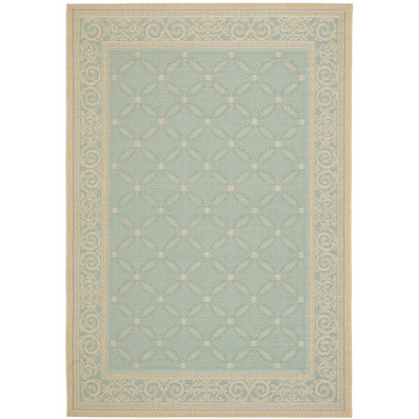 Beasley Aqua/Cream Indoor/Outdoor Rug by Astoria Grand